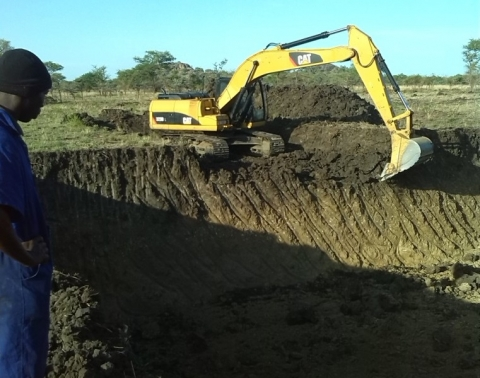 Excavation of the  Waliwal valley tank in progress